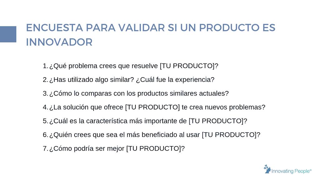 encuesta para validar si un producto es innovador